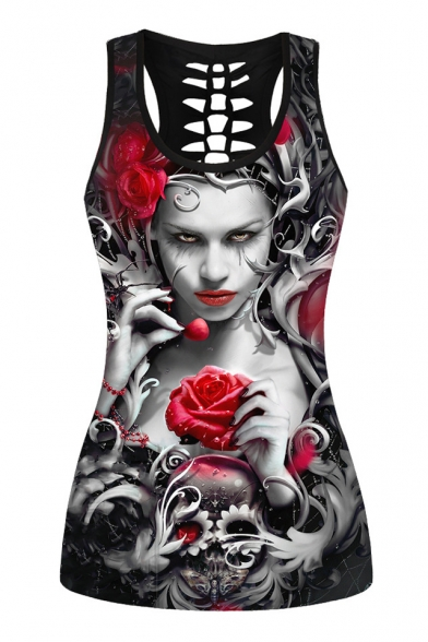 Character Skull Printed Back Out Hollow Floral Tank Sleeveless 65qHw6r