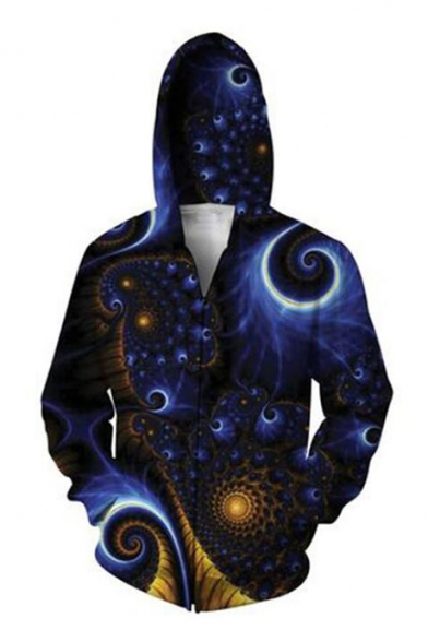 Long Whirlpools Zipper Print Hoodie Chic 3D Sleeve pqw5xTtX