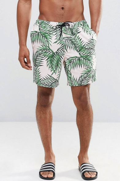 Classic Fast Dry Men's White Leaf Plant Swim Trunks with Drawcord and Mesh Liner