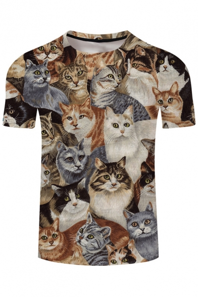 Cats Sleeve Tee Neck Short Comic Printed Round 6Rv88q