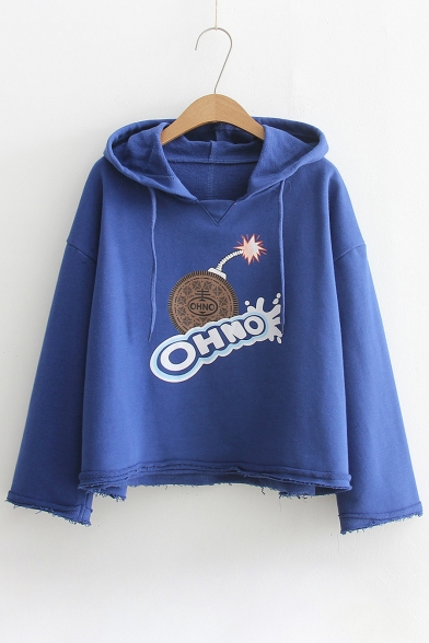 Tee Sleeve Letter Long Hooded Printed Cookie OtqXcTwq0