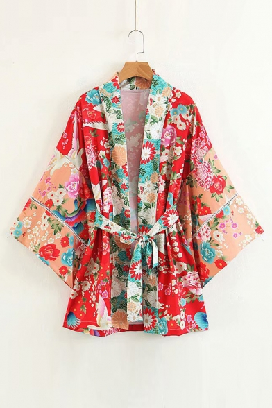 Sleeve Printed Long Flare Collarless Crane Floral Kimono qOfwTW1Wn