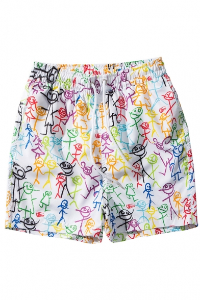 a7244b2f79 Cute Funny Elastic White Stick Man Printed Swim Shorts for Men with Mesh  Brief Lining ...