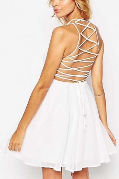 Drawstring Crisscross Back Sleeveless Plain Mini A-Line Cami Dress