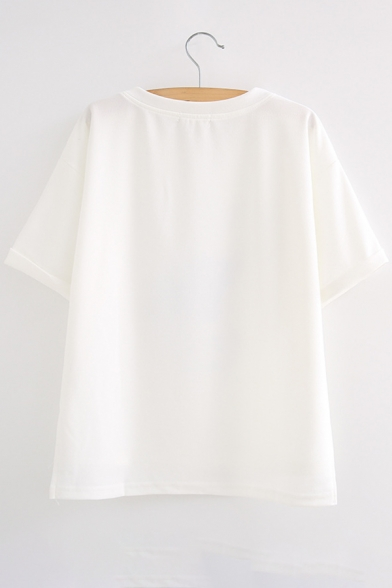 Letter Short Tee Elephant Printed Sleeve Round Neck gxqaOf