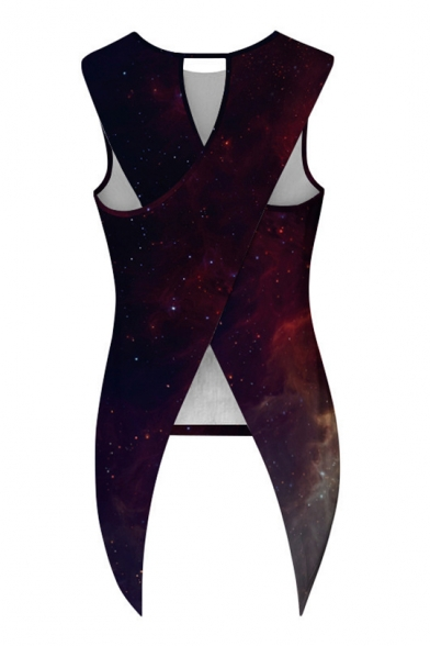 Printed Back Neck Tank Split Sleeveless Galaxy Round 8FwdqBB