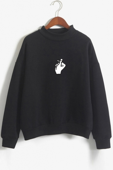 Gesture Printed Round Neck Long Sleeve Sweatshirt