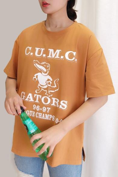 Neck Tee Sleeve Printed Short Round Crocodile Letter qnwBAU7q