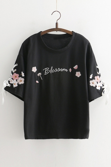 Tee Short Neck Letter Floral Round Sleeve Embroidered wSY1qpz