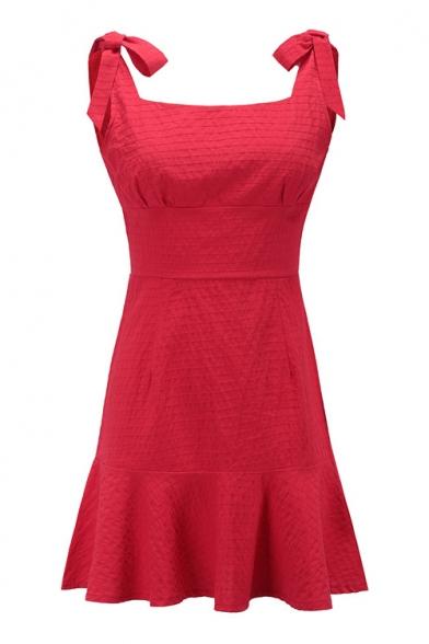 Tied Mini Hem Plain A Ruffle Sleeveless Straps Dress Line fwHSqAC