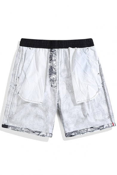 Popular White Cartoon Abstract Graffiti Bathing Suits Shorts for Guys with Side Pockets