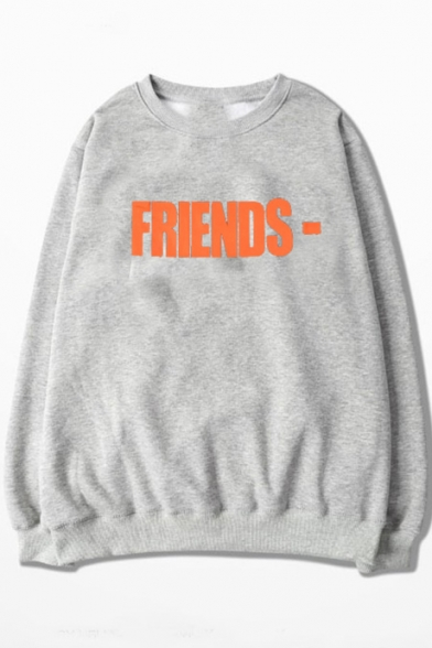 Sleeve Long V Round Letter FRIENDS Printed Neck Sweatshirt xwxagYUq