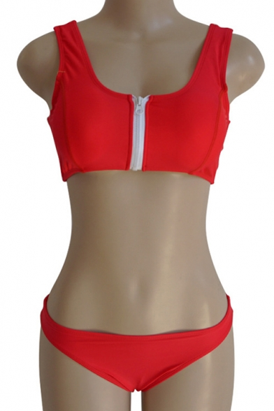 Sleeveless Plain Front Bikini Zipper Tank Crop 45PWwZ