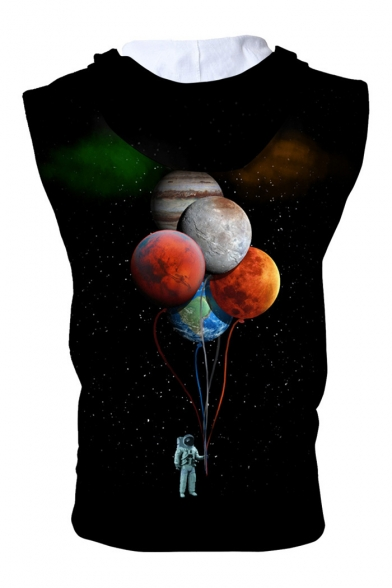 Hoodie Balloon Up Zip Astronaut Sleeveless Printed pRqXTrR