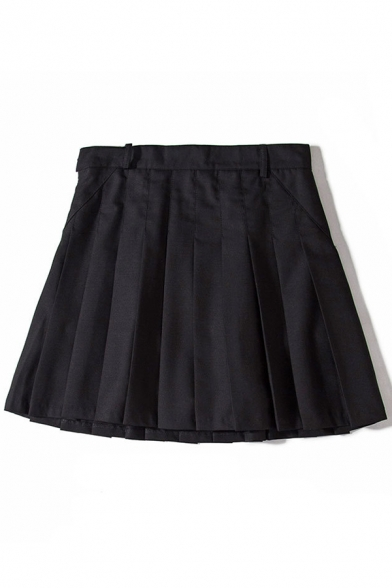 Image of Basic Plain Pleated Mini A-Line Skirt