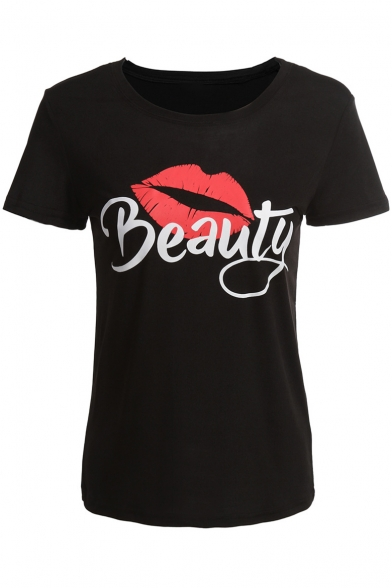 Printed Short BEAUTY Neck Sleeve Tee Round Lip g55wR