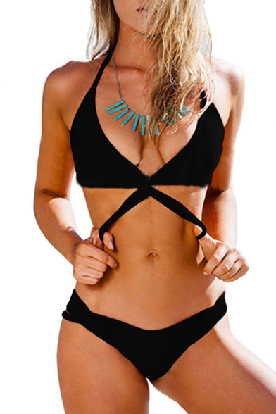 Braid Hollow Embellished Out Bikini Rope Plain Halter r7waErUq