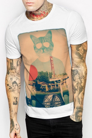 Tee Character Neck Short Printed Head Sleeve Round Cat's 0F15wq