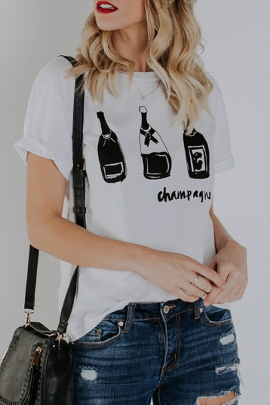 Short Printed Round Sleeve CHAMPAGNE Tee Neck Bottle Letter XUwSxxq4f