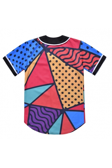 Short Down Printed Geometric Baseball Buttons Tee Sleeve Color Block qYwtA6ft