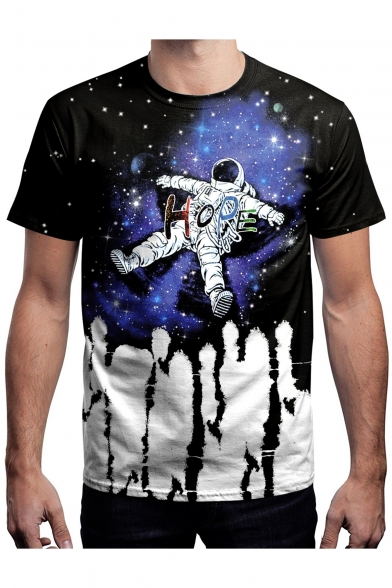 Round Sleeve Block Neck Printed Astronaut Short Color Tee HOPE ZRwqOxf