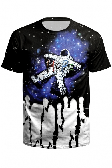 Short Neck Printed Astronaut HOPE Sleeve Tee Color Round Block XqFBtxY