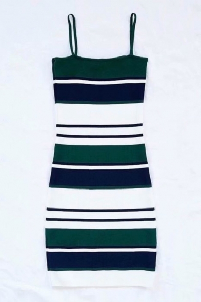 Color Block Striped Printed Spaghetti Straps Sleeveless Mini Cami Dress