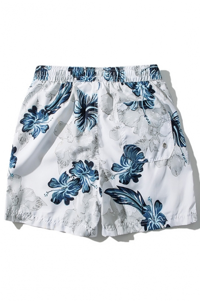 Fancy Elastic Bright Blue Drawstring Floral Bathing Shorts for Guys with Mesh Brief Liner