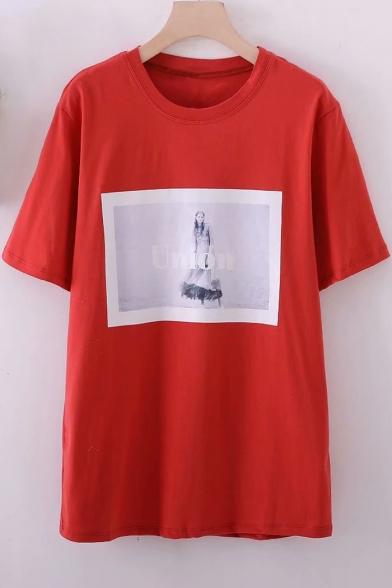 Fashionable Printed Round Sleeve Neck Short Girl Tee TTUwra