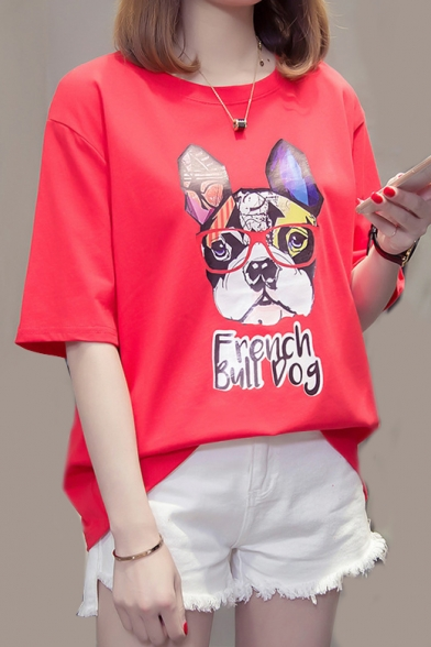 DOG Tee Round Printed Sleeve Short Neck FRENCH Animal BULL HqpnwxZz