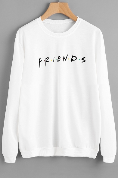 Sleeve Sweatshirt Round Letter Long FRIENDS Neck Printed Bw8AfOqT