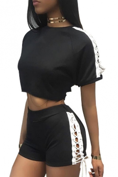 Short Co Embellished Sleeve Elastic Crop Lace Side ords Up Top Round Shorts with Waist Neck EYYXwqO