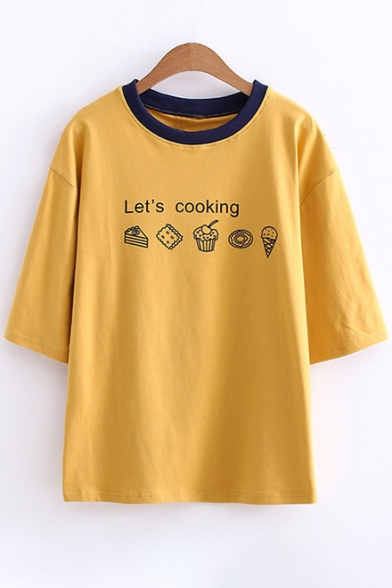 LET'S LOOKING Cake Ice Cream Printed Contrast Round Neck Short Sleeve Tee
