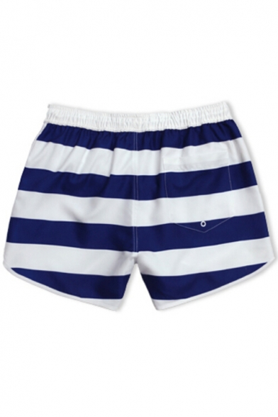 Mens Elastic Navy Blue and White Striped Swim Trunks Shorts with Back Pockets