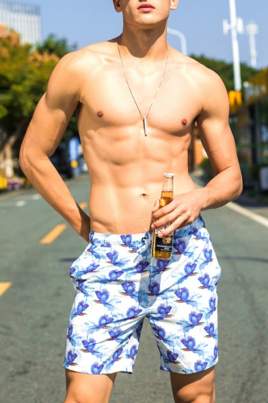 New Fashion White Short Men's Bird Print Swimming Trunks with Mesh Brief