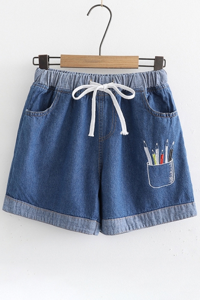 Pens Embroidered Drawstring Waist Denim Shorts