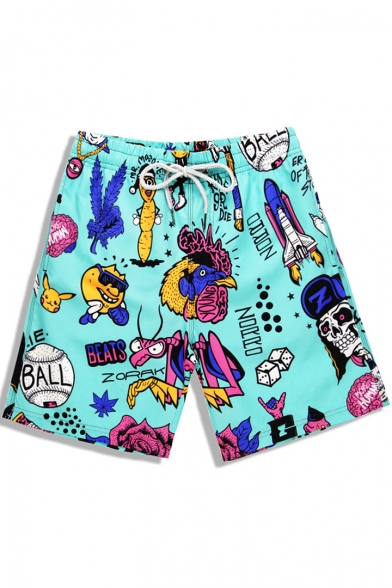 Popular Quick Drying Elastic Neon Turquoise Blue Cartoon Skull Ball Pattern Swimming Shorts