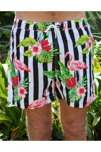 Quick Dry Floral Flamingo Mens Classic Black and White Striped Swimwear Shorts with Mesh Brief Lining