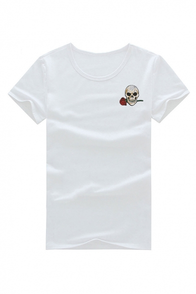 Skull Floral Embroidered Neck Sleeve Round Tee Short EPqASqw
