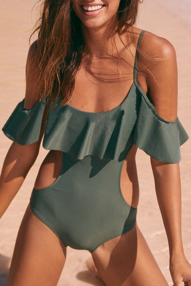 One Hollow Ruffle Short Piece Shoulder Off Plain Swimwear Detail Out The Sleeve HwIHzq