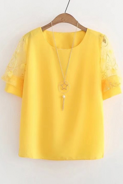 Sleeve Sheer Neck Mesh Chiffon Blouse Short Insert Round qXHT8wAX