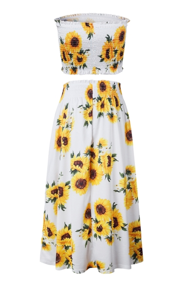 Sun Flower Printed Crop Bandeau with Maxi Elastic Waist Skirt Co-ords