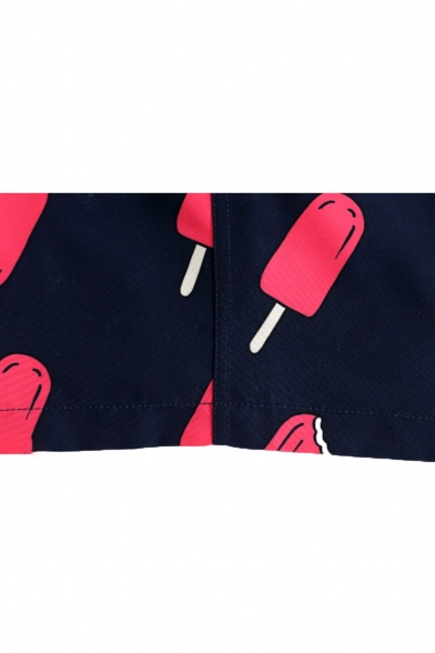 Unique Mens Navy Blue Popsicle Pattern Swim Trunks with Mesh Lined Side Pockets