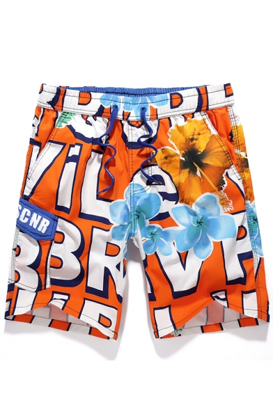 Big and Tall Quick Dry Mens Floral Green Letter Pattern New Swim Trunks with Cargo Flap Pockets