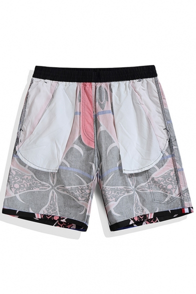 Black and Blue Male Elastic Drawcord Giraffe Print Colorblocked Swim Shorts Beachwear without Mesh Liner