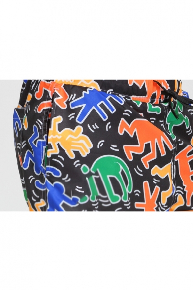 Black Drawstring Cartoon Monkey Pattern Bathing Suits Trunks with Liner