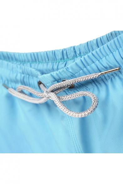Bright Blue Drawstring Mens Trendy Fast Dry Dog Letter Printed Swim Shorts with Pockets