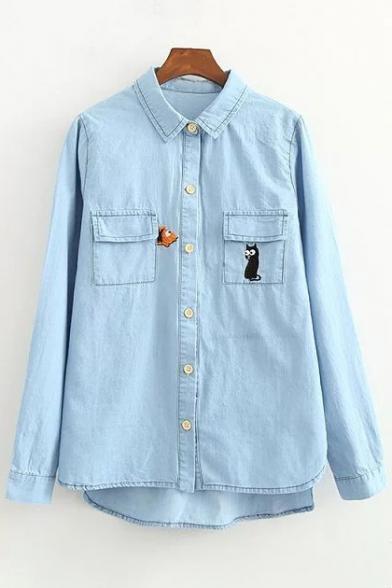 Baycheer / Cat Embroidered Lapel Collar Long Sleeve Buttons Down Shirt