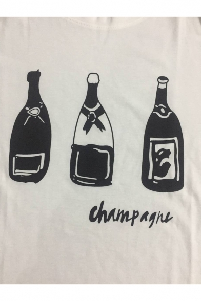 Printed Round Neck Sleeve Letter Short Bottle Tee CHAMPAGNE HqOzn