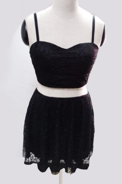 Chic Spaghetti Straps Cropped Top Crochet Lace Hem Mini Skirt Plain Co-ords